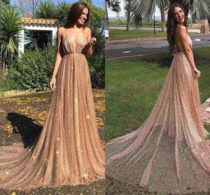 2019 Nuevo Bling Sexy Silver Rose Gold Lentejuelas de encaje Vestidos de baile Correas de espagueti Open Back Sweep Train Vestidos de fiesta de noche formal Vestidos