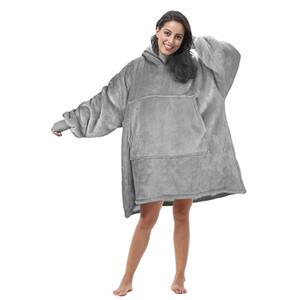 Frauen mit Kapuze langen Hülsehoodies starken warmen beiläufigen Herbst-Winter-Los fester Decke Sweatshirt Pullover Taschen