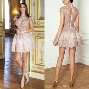 2020 bella Blush Pink abito di sfera breve abiti da cocktail a collo alto con maniche corte con paillettes perline See Through Medio Oriente Homecoming Abiti