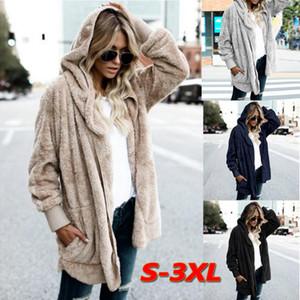 Las mujeres Fleece Jacket Fuzzy invierno ocasional de la capa suelta de gran tamaño con capucha Mujer oso de peluche suaves calientes frente abierto de piel falsa Prendas de abrigo