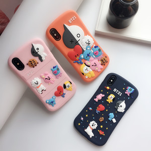 Silicon BT21 Cartoon Tower Phone Case For iPhone 11 Pro Max SE XR XS Slim Waist Rubber Bump Protector Back Cover Case