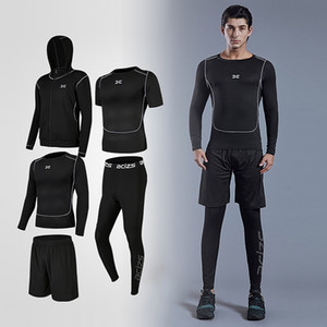 5pcs   sets men's tracksuit men's suits running shrits + sports shorts + jogging pants football suit play gym sets new