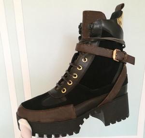 Novas Botas Designer Genuíno Mulher Botas Curtas Plana Engrossar Low heeled Mulheres Chunky Sapatos Casuais Plataforma Laureate Bota Deserto Bottes 36-41