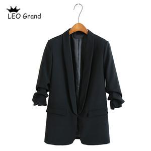 مخروطى الأعلى للمرأة الأسود حقق طوق سترة طويلة الأكمام سترة قميص عارضة قمم ارتداء مكتب jaqueta الأنثى 910023