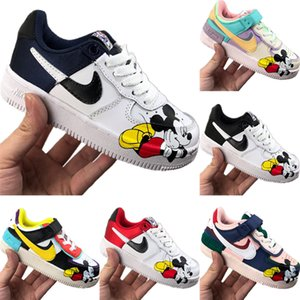 With Box 2020 AF1 Kids Candy Low Cut Skateboarding Shoes Original AF1 Low Top Kids Built-in Zoom Air Cushioning Sports Shoes