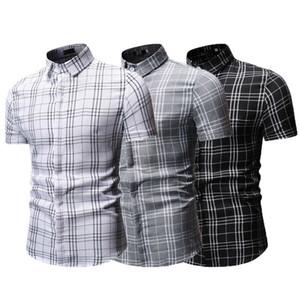Yeni Gelenler Erkekler Kısa Kol Düğmesi Aşağı Gömlek Dar Kesim Günlük Elbise Şık Gömlek Ekose Formal Yaz Yumuşak Shirt