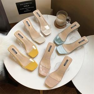 Claras talones de los deslizadores del verano 2020 de los zapatos ocasionales de las mujeres transparentes altos los talones bombea la plaza boda del talón sandalias atractivos cristalinos de Diapositivas