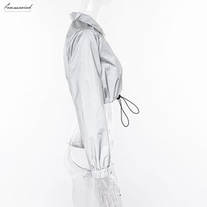 New Reflective Cost Women Fashion Full Sleeve Turn Down Collar Button Drawstring Outfit Female Street Casual Jackets