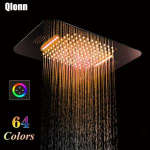 580 * 380mm 욕실 64 개 색상 포함 된 천장 LED 블루투스 뮤직 샤워 헤드 폭포 레인 폴 샤워기 304 스테인레스 스틸