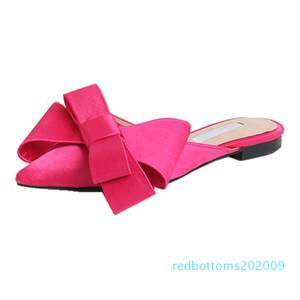 Pointed Toe Slippers Women Flat Mules Women Shoes Bow Tie Slippers BaotouFlat heel Sets Semi r09