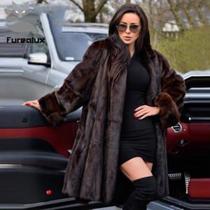 Furealux Gerçek Coats For Women Kalın Sıcak Kış Ceket Kadın Coat ile Yaka açın aşağı