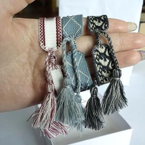 caixa de luxo designer da moda por atacado 2020 nova mulher bracelete Inglês letra D bordados, tecidos à mão pulseira de borla pendente de jóias
