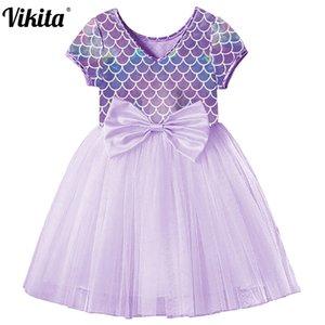 VIKITA meninas festa de aniversário do Desempenho Prom Dress elegante crianças Vestidos dama Escola de Verão Toddlers Tulle Dress