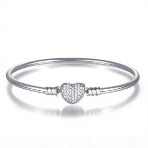 Nouveau authentique argent 925 Pave coeur d'amour de cristal fermoir clip de base Bracelet Fit femmes bricolage Pan Perles bijoux charme
