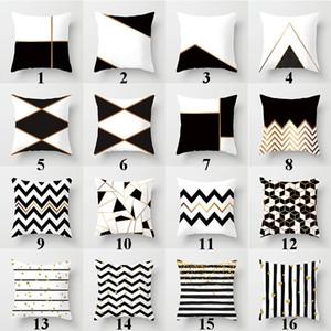 Черно-белый узор наволочки хлопок льняная геометрия напечатаны наволочка 18x18 дюймов настроить чехол на подушку
