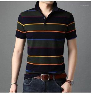 Tasarımcı Polos Moda Gevşek Kısa Sleeve Yaka Boyun Tshirts Çizgili Kazak Tees Erkek Giyim Yaz Erkek