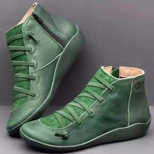 Mulheres Inverno Botas de couro genuíno Black Snow rendas até Ankle Boots Melhores sapatos fundo macio externas Flats Trainers