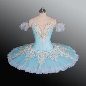 Mädchen Light Blue Swan Lake Ballet Tutu Lila Professonal Ballet Pancake Tutu für Wettbewerb Frauen Ballett Bühnenkostüme Rock für Kinder