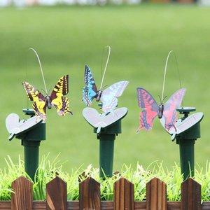 태양 광 발전의 춤 비행 나비 끼고 진동 플라이 벌새 시뮬레이션 조류 정원 야드 장식 재미 장난감 LJJA384