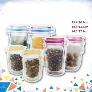 Wholesale Mason Jar Shaped Food Container Plastic Bag Clear Mason Bottle Modeling Zippers Storage Snacks Plastic Box LZ1827