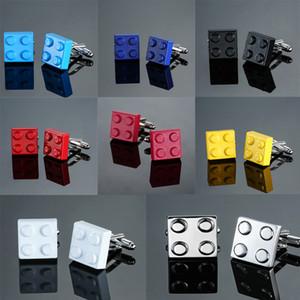 HYX Erkekler Kol Düğmeleri Muti renkli Tuğlalar Tasarım Mavi Kırmızı Siyah 8 Renk Seçeneği Bakır Yenilik Kol Düğmeleri Wholesaleretail