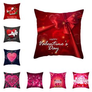 Red Valentine Day Taie Coussin amant de mariage couverture Bonne Saint Valentin en forme de coeur imprimé Taie