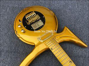 Promozione! Dream Guitar di Jerry Auerswald Diamond Series Prince Love Symbol Gold Chitarra elettrica Floyd Rose Tremolo Bridge, Pickguard nero