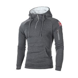 Mens Fashion Zipper Hoodies Hip Hop Sweatshirt Herbst Britische Flagge Patchwork mit Kapuze Anzug Male Hoodie Kleidung