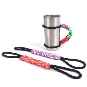 30 온스 텀블러 진공 절연 머그잔에 대 한 다채로운 조절 파라 코 드 꼰 핸들 손으로 짠된 폴리 에스터 컵 핸들 W8694