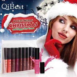 QiBest Christmas Limited Edition Lip Gloss Set Matte Lipstick liquide Set antiadhésif liquide Coupe Rouge à lèvres de cadeau de Noël