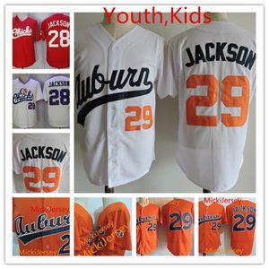 Gençlik # 29 Bo Jackson Auburn kolej beyzbol Jersey Çocuk Dikişli 1986 # 28 Bo Jackson Memphis Chicks Koleksiyon Formalar S-3XL