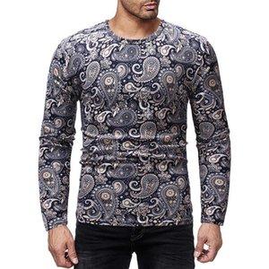 Tasarımcı Uzun Kollu T-shirt Moda İnce Sonbahar Mürettebat Boyun Mens Tees Casual Erkek Giyim Yapraklı Mens yazdır