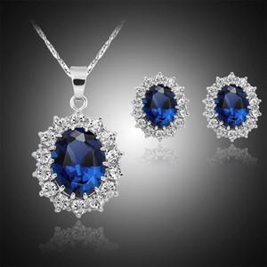 2 ADET Mavi Kristal Küpe Kolye Setleri Lüks Mikro-kakma Sapphira Kraliyet Prenses Takı Setleri Küpe Kolye Seti