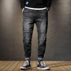 Men Spring Summer Jeans Pants Embroidery Print Men Harem Pants Plus Size 38 Denim Trousers