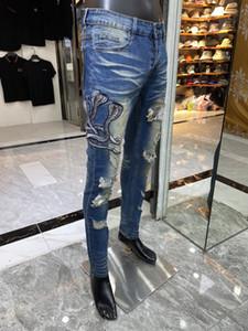 Yeni Erkek Tasarımcı Ağır Sanayi Jeans Ripped Mavi Çizgili Vintage Stil Delik Moda Erkek Delikler Jeans İnce Biker Motosiklet Nedensel Mens