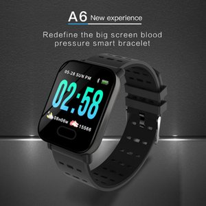 New A6 Wristband Smart Watch color Touch Screen IP67 Water Resistant Smartwatch Heart Rate Smart Bracelet Monitor for iphone Android