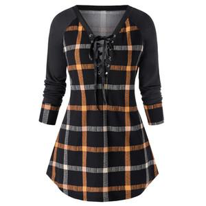 Plaid Print Designer Robes Femmes lambrissé couleur V Neck Robes Casual Mode Plus Size Vêtements pour femmes