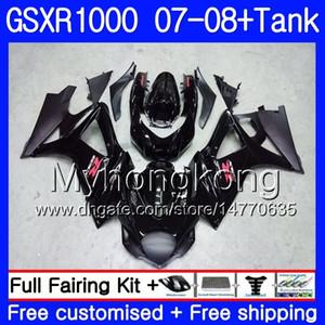 7Gifts + Tank Pour SUZUKI GSXR-1000 K7 GSX-R1000 GSXR 1000 07 08 301HM.0 GSXR1000 07 08 Carrosserie GSX R1000 2007 2008 Carénages HOT Glossy noir