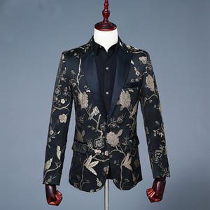 Полный ручной вышивки жених смокинги черные мужские дизайнерские официальные костюмы свадьба выпускного вечера человек пиджак только одна куртка