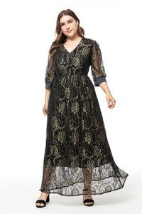 Plus Size Womens Robes Casual Fashion Lace évider lambrissés Femmes Designer Robes Femmes Casual gaze Vêtements