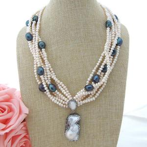"Women'S20 "" 6 нитей белый жемчуг черный жемчуг ожерелье Keshi Жемчужина кулон"