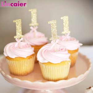 10pcs Glitter Paper 1 Cupcake Toppers Happy Birthday One Cake Topper Cake Decorating Supplies Baby Girl Boy 1st Decoration Y200618