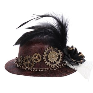 Girl Felt Cosplay Party Hat Steam Punk Gear Hair Clip Feather Mini Top Hat for Women Vintage Gothic Steampunk Accessories