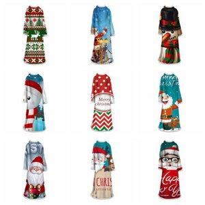 3d Weihnachtsdecke mit Ärmeln 40 Styles Super-Warm Velvet Wearable Decke Winter-Eindickung Los Große Mädchen Decke OOA7471-17