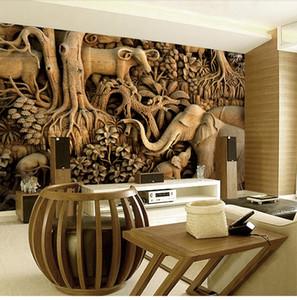 Büyük Ahşap Oyma Fil Duvar Kağıdı 8D Papel Mural Oturma Odası Için Arka Plan 3D Duvar Fotoğraf Duvar Resimleri için Duvar Kağıdı 3D Sticker