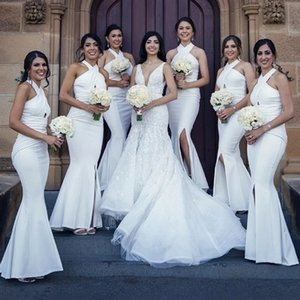 2020 Арабский Белый Холтер Русалка невесты платья Сторона Сплит выдалбливают Длинные свадебные платья для гостей Формальное Maid Чести Gowns