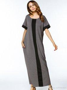 Muslim maxi vestito più la maglietta Size Abbigliamento casual preghiera Abiti Abaya allentato Stile Ramadan arabo lunghe vesti turco islamico