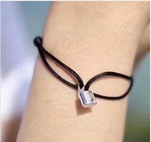 New Amante Mulheres Bangle Handmade corda ajustável Cadeia Charm Bracelet bloqueio pingente de titânio para o presente com letra