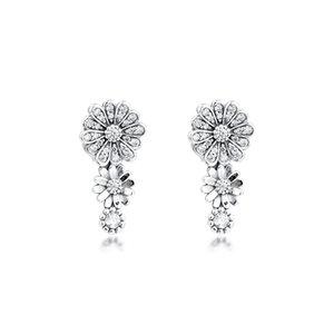 Funkelnde Gänseblümchen-Blumen-Trio-Bolzen-Ohrringe Europäischer Art-Ohrring-Bolzen Modeschmuck Großhandel freies Verschiffen Blumen-Ohrringe