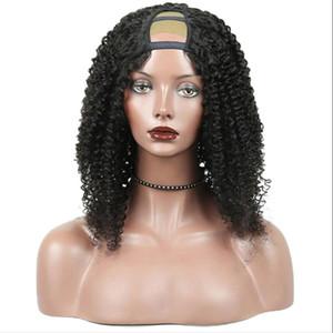 Barato Kinky Curly U Parte Peruca Cabelo Virgem 100% Não transformados Peruano Cabelo Humano Upart Wigs Kinky Curly U-Part Peruca Para Mulher Negra